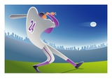 man swinging baseball bat, low angle view Giclee Print