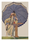 Illustration of Woman Sitting Under Striped Umbrella by Coles Phillips Giclee Print