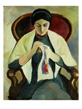 Woman Sewing Giclee Print by August Macke