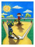 Child Pointing for Home Run in Baseball Game Giclee Print