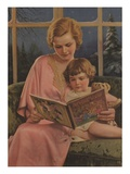 Illustration of Mother and Daughter Reading Giclee Print