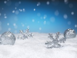 Christmas Decorations in Snow Photographic Print
