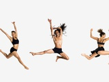 Three dancers jumping Photographic Print