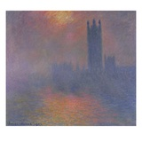 Houses of Parliament, London, with the Sun Breaking Through the Fog Giclée-Druck von Claude Monet