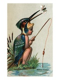 Illustration of Child Dressed in Malachite Kingfisher Costume Giclee Print