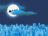 Santa Clause Flying Over City Lámina fotográfica