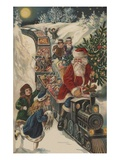Christmas Postcard with Santa Riding a Train with Toys Giclee Print by Alexandra Day