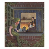 Illustration of Peter Pan Watching Happy Family by Roy Best Giclee Print