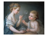 Children Blowing Bubbles Giclee Print by Jean-Etienne Liotard