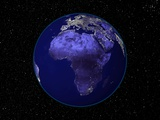 City Lights in Dark View of African Continent Photographic Print