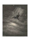 Now to the Ascent of That Steep Savage Hill Satan Hath Journey'd On Giclée-tryk af Gustave Doré