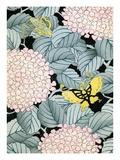 Illustration of Hydrangeas and Butterflies Giclee Print