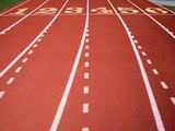 Synthetic Track Lanes Photographic Print by Jim Vecchi