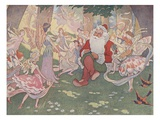 Illustration of Santa with Fairies by E. Boyd Smith Giclee Print