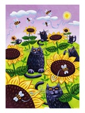 Black Cats Watching Honeybees on Sunflowers Giclee Print by Lisa Berkshire