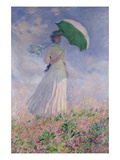 Woman with a Parasol Turned to the Right Reproduction procédé giclée par Claude Monet