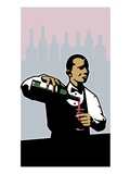 Butler pouring a wine bottle Giclee Print by Eddie Cathey