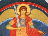 Saint Michael Fresco at Monastery of Saint-Antoine-le-Grand Photographic Print by Pascal Deloche