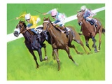 Three horses racing on a track Giclee Print by David Barnet