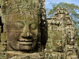 Detail of Face on Bayon Temple Photographic Print by Bob Krist