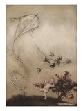 The Birds Show Peter Pan How They Fly a Kite Giclee Print by Arthur Rackham