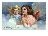 A Merry Christmas with Two Praying Angels Giclee Print