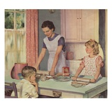 Illustration of Mother and Daughter Baking Together by Douglass Crockwell Giclee Print