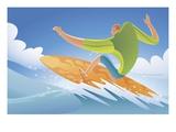 man surfing Giclee Print