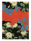 Illustration of Red and Black Design with Daisies Giclee Print