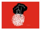 One person balancing on a tangled ball of string Giclee Print by Jordi Elias