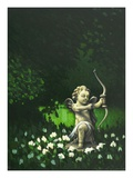 garden statue of cupid aiming a bow and arrow Giclee Print