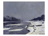 Ice on the Seine at Bougival Giclee Print by Claude Monet