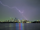 Lightning Striking City Photographic Print by Nick Rains