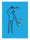 Figure watering a flower Giclee Print by Jordi Elias