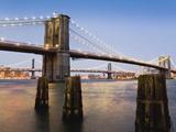 Brooklyn Bridge and Manhattan Bridge at Twilight Photographic Print by Rudy Sulgan