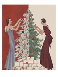 Decorating the Christmas Tree Giclee Print by Dynevor Rhys