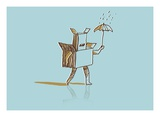 Box man walking through the rain Giclee Print by Jordi Elias