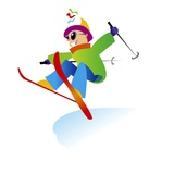 Freestyle Skiier Jumping up Giclee Print