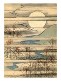Illustration of Full Moon Over a River Landscape Reproduction procédé giclée