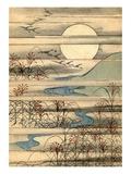Illustration of Full Moon Over a River Landscape Giclee-trykk