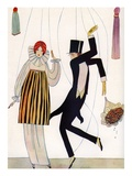 Illustration of Fashionable Couple as Marionettes Giclee Print