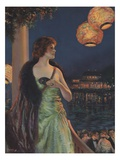 Illustration of Woman at Masked Ball by F.R. Harper Giclee Print