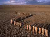 Breakwater Stakes on Shingle Beach Photographic Print by Barry Lewis