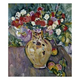 Still Life of Fruit and Flowers in a Vase Giclee Print by George Leslie Hunter