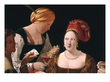 Detail of The Cheat with the Ace of Diamonds Giclee Print by Georges de La Tour