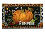 Butterfly Brand Golden Pumpkin Product Label Giclee Print
