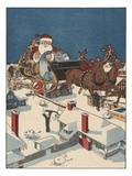 Illustration of Santa Checking His List in His Sleigh Giclee Print