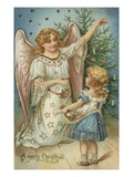 A Merry Christmas with Angel and Little Girl Giclee Print by Alexandra Day