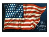 The Glorious Fourth with American Flag Giclee Print