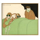 Illustration of Race Car Drivers in a Racecar with Goggles On by L. Fellows Giclee Print